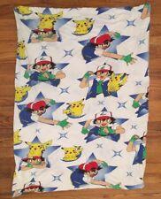 Vintage Set 1999 Pokemon Twin Flat Bed Sheet Pikachu Red Nintendo Anime