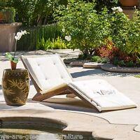 Outdoor Mahogany Wood Folding Chaise Lounge Chair w/ Cream Cushion