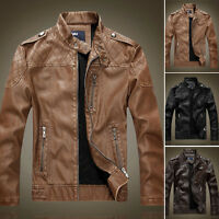 Mens Winter Outwear PU Leather Bomber Jacket Biker Motorcycle Coat Padded Parka#