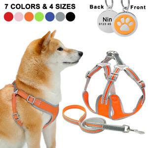 Adjustable Small Medium Large Dog Harness Reflective Vest Lead Personslized Tag