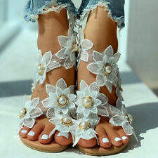 US9 Women Open Toe Flower Sandals Ladies Slip On Summer Beach Pearl Slipper Shoe
