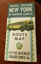 VINTAGE FIFTH AVENUE COACH LINES NEW YORK CITY BUS MAP 1950'S