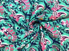 5 Yards Indian Cotton Voile Hand Block Print Fabric Natural Dyes Sanganeri 034