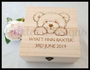Memory Keepsake Square Box 16cm Birth Time Capsule Baby Wooden Personalised