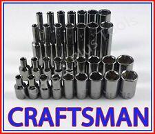 CRAFTSMAN 32pc 1/4 Gunmetal Chrome SAE&METRIC MM 6pt Ratchet Wrench Socket Set