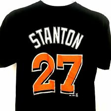 Giancarlo Stanton Jersey T Shirt Miami Marlins MLB Black Majestic Mens Medium