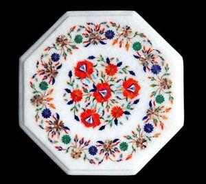 "12"" white Marble corner semi precious stones Inlaid table top handmade work"