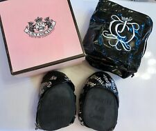Juicy Couture Black Fold Up leather ballet flats pumps Shoes Ballerina Bow 7 9