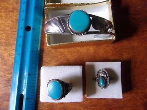 Vintage Navajo Sterling Turquoise Jewelry Lot, Cuff and 2 rings
