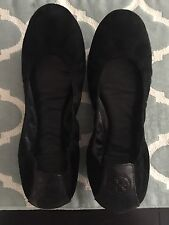 Tory Burch Size 7.5 Black Suede Leather Eddie Flats