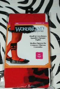 HALLOWEEN Wonderland Costume Girl Medium (7-10) Red/Black SKULL/BONES Tights-NEW