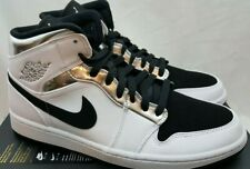 Air Jordan Retro 1 Mid Think 16 White Black Metallic Silver 554724-121 Size 11