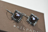 Silpada Sterling Silver Hammered Square Gray Purple Pearl Earrings W1194