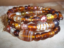Hand Crafted BROWN Glass BEAD Memory Wire Wrap Bracelet Beach Gypsy D-123