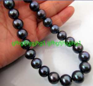 AAA 10-11MM TAHITIAN NATURAL BLACK PEARL NECKLACE PERFECT ROUND 22''