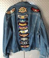 Mens HOG Harley Owner Group Denim Lee Jacket / Coat w vintage patches Size 46L