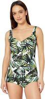 Maxine Of Hollywood Women's 236939 Shirred Front One Piece Swimsuit Size 18