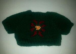 Christmas Teddy Bear or doll Sweater Green Poinsettia Medium Knit  Clothing