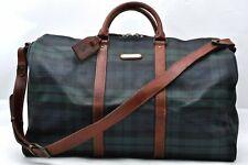 Authentic POLO Ralph Lauren Vintage Green Check Leather Travel Boston Bag 97475