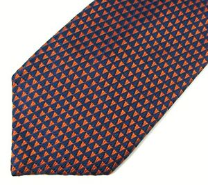 Alfred Dunhill Woven Silk Neck Tie Navy Orange Triangle Pattern Made in UK 57""