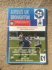 Airbus UK Broughton v Rhyl - Welsh Premier League 2007/08 Programme