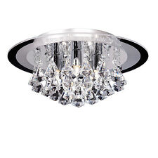 Endon Renner flush ceiling light 5x 33W Clear crystal (k9) drops & chrome effect