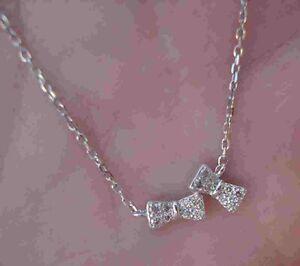 Bows Diamond Pave Necklace 14K White Gold Dainty