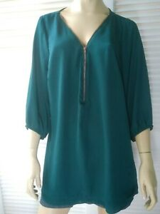 CITY CHIC ladies plus size Large top green gold front zip