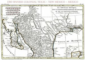 """1780 Early Texas Spanish~Mexican Map~Bonne~18""""x24"""""""
