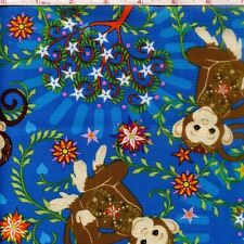"NEW Mystic Forest Allover monkeys 100% cotton fabric remnant 43"" X 32"""