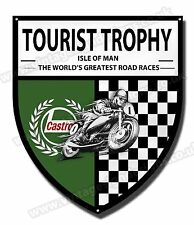 TOURIST TROPHY ISLE OF MAN METAL SHIELD.TT RACES GARAGE SIGN .TT MAN CAVE SIGN