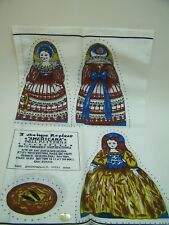 Americana Doll Patterns 3 Dolls Antique replicas Cut Sew Fabric Panel 7 1/2 Tall