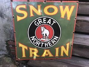 Snow Train Great Northern Railroad Porcelain sign