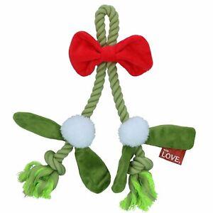 Dog Christmas Gift Mistle-Bow Plush Rope Play Toy Festive Xmas Present