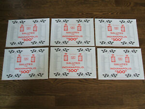 Lot of 6 Indianapolis Indy 500 1982 Restaurant AMARETTO PAPER PLACEMATS, NEW