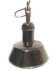 Emaille Bauhaus Lampe AEG Werkstattlampe Industrielampe Loft Industriedesign Alt