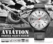 Men Fashion Aviation Pilot Watch Black Leather Strap - BLACK / SILVER Background