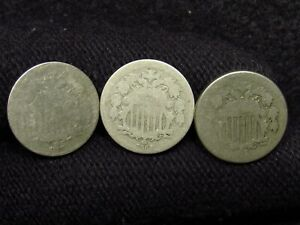 1867, 1869, 1874 Shield Nickels LOW GRADE (3 COINS)
