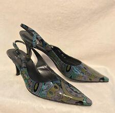 NEW Stuart Weitzman Blue Purple Green Paisley Slides Slingbacks Shoes, 8