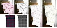 100% Brushed Cotton Bed Sheet Set Checked Fitted sheet Floral Flat Sheet Bedding