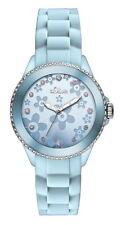 s.Oliver Damen Armbanduhr Silikon Hellblau Steine Blumen Analog Quarz SO-2562-PQ