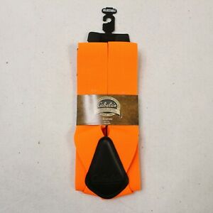 Cabela's Men's Wide Orange Suspenders Metal Clip Adjustable Elastic Leather Logo