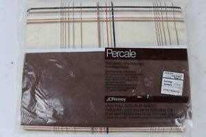 Vintage NOS JCPenney Percale Line Plaid Shirttails Full Flat Top Sheet New USA