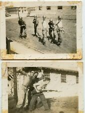 US ARMY MILITARY Vintage Photos BOOT TRAINING CAMP Fooling Around with Guns