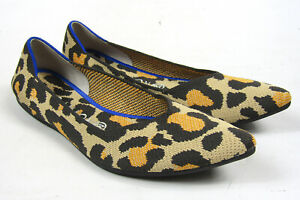 Cheetah Big Cat Rothy's Point Pointed Toe Flats Slip On Shoes Sz 10