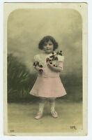 c 1908 Children Child Cute LITTLE GIRL w/ Cherries tinted photo postcard