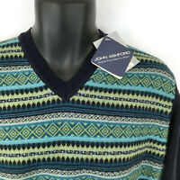 JOHN ASHFORD men's sz M sweater - NEW $85 blue green merino wool pullover medium