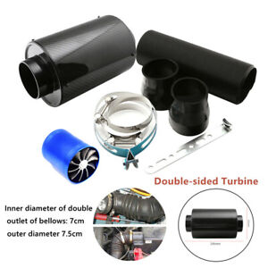 """3"""" Carbon Fiber Double Turbine Filter Box Title Induction Cold Air Intake System"""