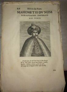 TURQUIE. PORTRAIT DE MAHOMET III.17éme EMPEREUR DES TURCS. PORTRAIT DE 1662.
