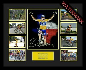LANCE ARMSTRONG TOUR DE FRANCE LIMITED EDT 100 ONLY SIGNED FRAMED MEMORABILIA